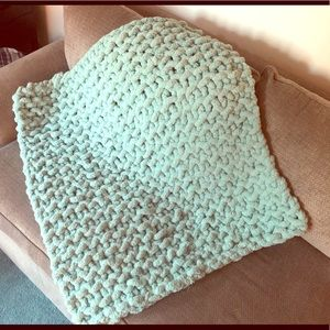 Handmade knitted baby blanket 30x40 mint color